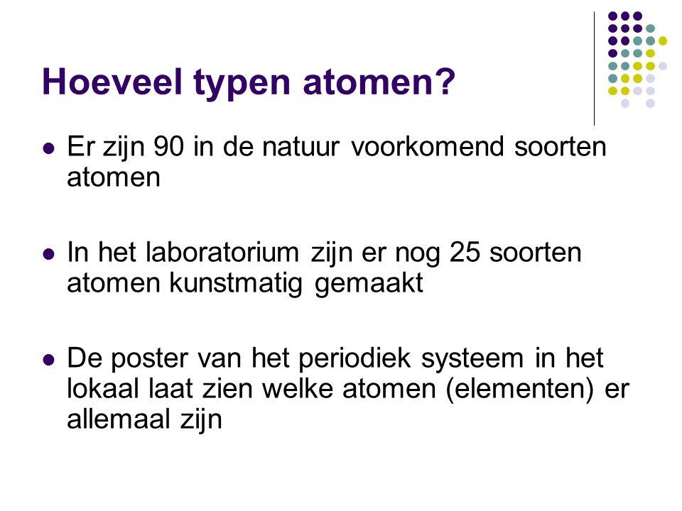 Hoeveel typen atomen?  Er zijn 90 in de natuur voorkomend soorten atomen  In het laboratorium zijn er nog 25 soorten atomen kunstmatig gemaakt  De