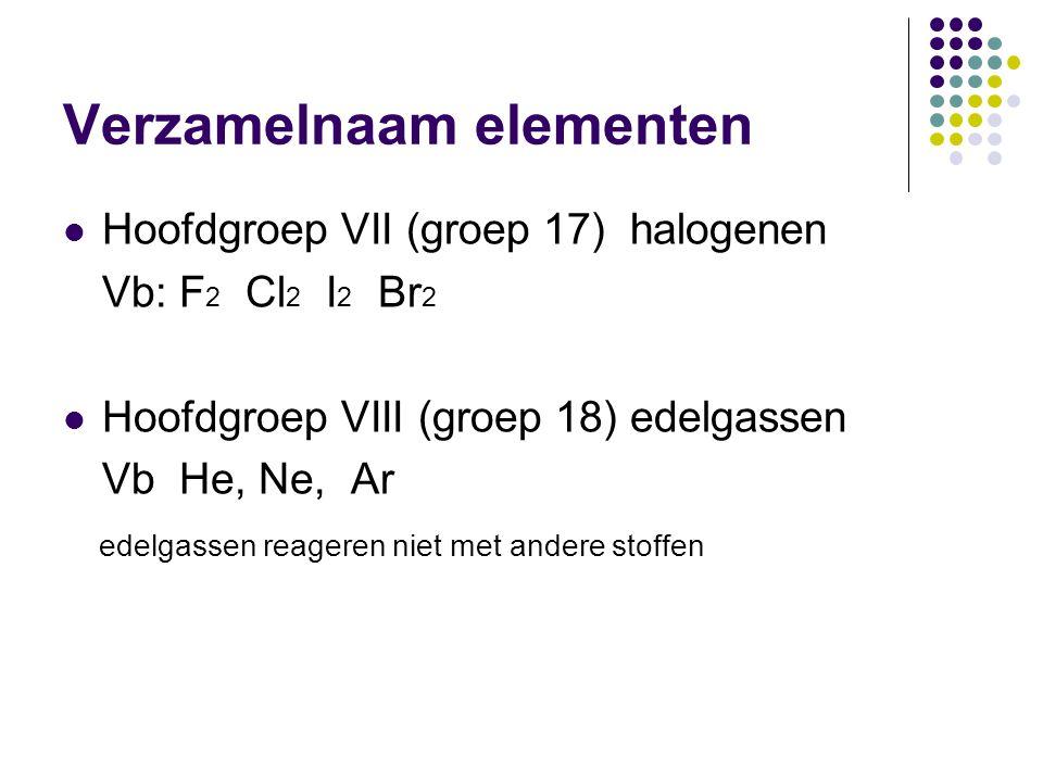 Verzamelnaam elementen  Hoofdgroep VII (groep 17) halogenen Vb: F 2 Cl 2 I 2 Br 2  Hoofdgroep VIII (groep 18) edelgassen Vb He, Ne, Ar edelgassen re