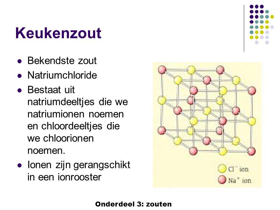 Keukenzout  Bekendste zout  Natriumchloride  Bestaat uit natriumdeeltjes die we natriumionen noemen en chloordeeltjes die we chloorionen noemen. 