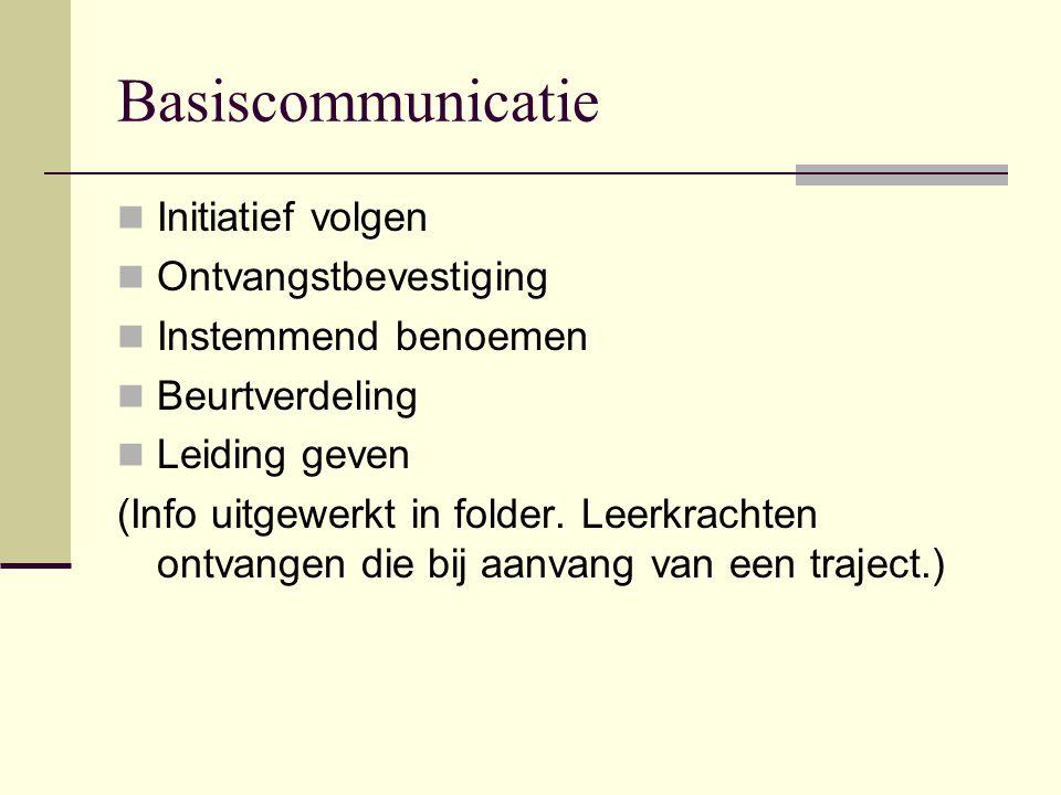 Basiscommunicatie  Initiatief volgen  Ontvangstbevestiging  Instemmend benoemen  Beurtverdeling  Leiding geven (Info uitgewerkt in folder. Leerkr