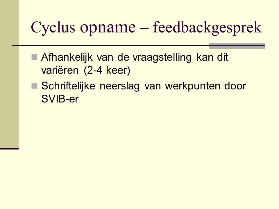 Cyclus opname – feedbackgesprek  Afhankelijk van de vraagstelling kan dit variëren (2-4 keer)  Schriftelijke neerslag van werkpunten door SVIB-er