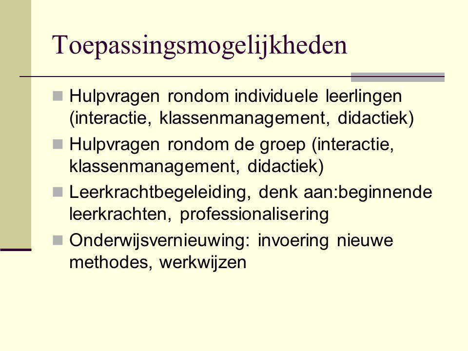 Toepassingsmogelijkheden  Hulpvragen rondom individuele leerlingen (interactie, klassenmanagement, didactiek)  Hulpvragen rondom de groep (interacti
