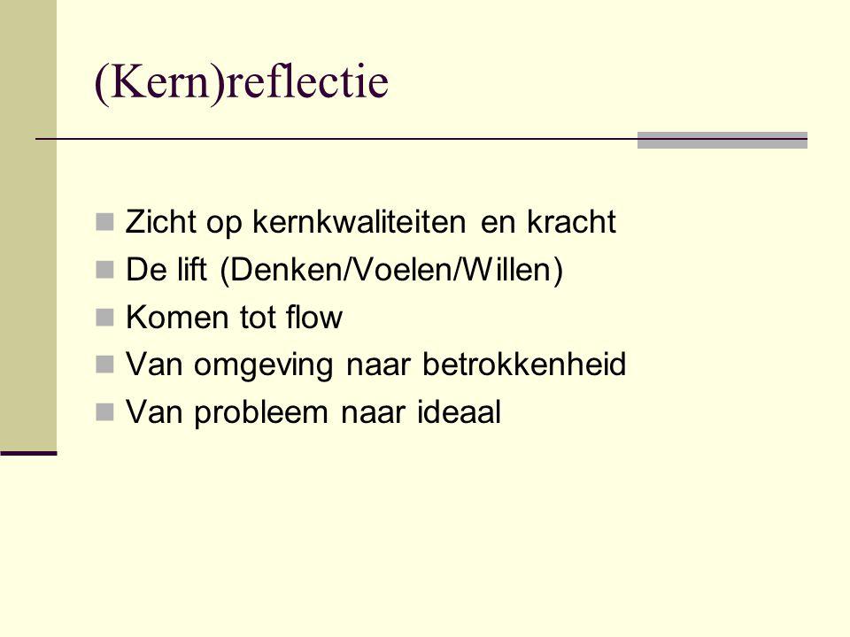 (Kern)reflectie  Zicht op kernkwaliteiten en kracht  De lift (Denken/Voelen/Willen)  Komen tot flow  Van omgeving naar betrokkenheid  Van probleem naar ideaal