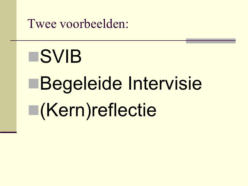 Twee voorbeelden:  SVIB  Begeleide Intervisie  (Kern)reflectie