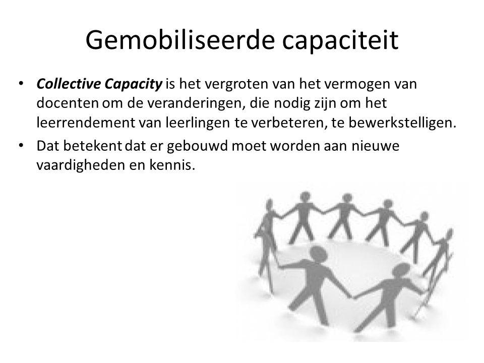 Gemobiliseerde capaciteit • Collective Capacity is het vergroten van het vermogen van docenten om de veranderingen, die nodig zijn om het leerrendemen