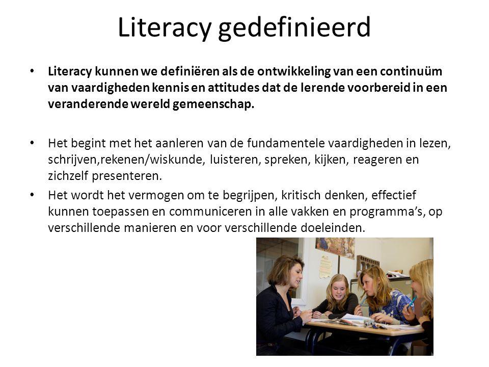 Literacy gedefinieerd • Literacy kunnen we definiëren als de ontwikkeling van een continuüm van vaardigheden kennis en attitudes dat de lerende voorbe