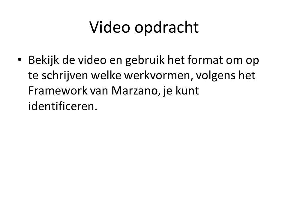 Video opdracht • Bekijk de video en gebruik het format om op te schrijven welke werkvormen, volgens het Framework van Marzano, je kunt identificeren.