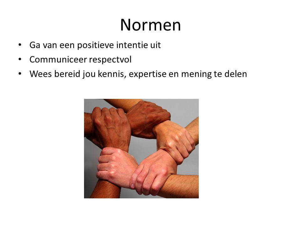 Normen • Ga van een positieve intentie uit • Communiceer respectvol • Wees bereid jou kennis, expertise en mening te delen