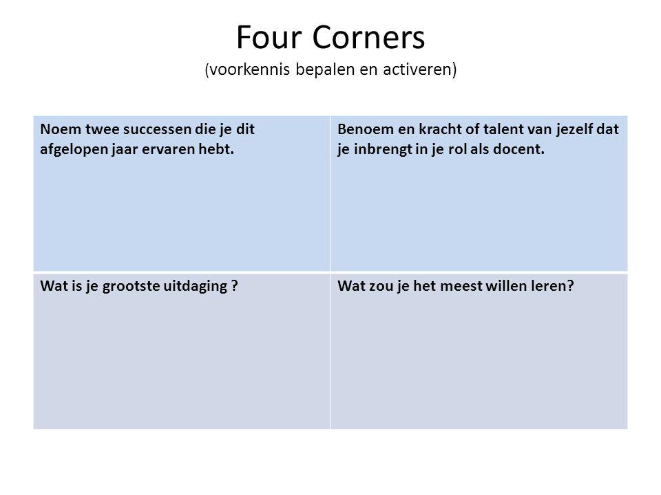 Four Corners ( voorkennis bepalen en activeren) Noem twee successen die je dit afgelopen jaar ervaren hebt. Benoem en kracht of talent van jezelf dat
