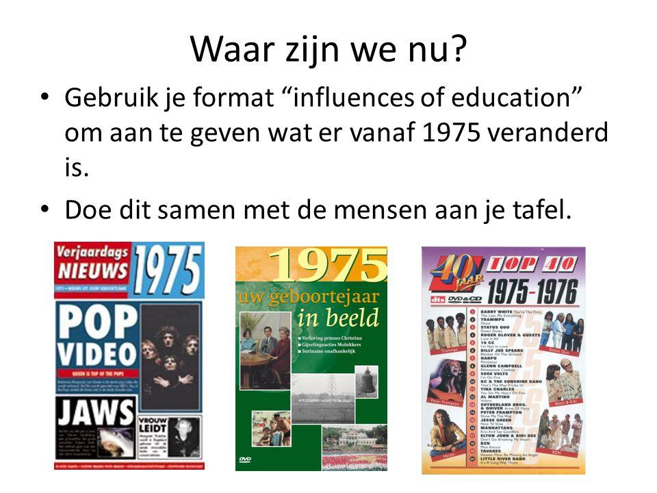 """Waar zijn we nu? • Gebruik je format """"influences of education"""" om aan te geven wat er vanaf 1975 veranderd is. • Doe dit samen met de mensen aan je ta"""