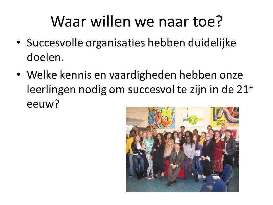 Waar willen we naar toe? • Succesvolle organisaties hebben duidelijke doelen. • Welke kennis en vaardigheden hebben onze leerlingen nodig om succesvol