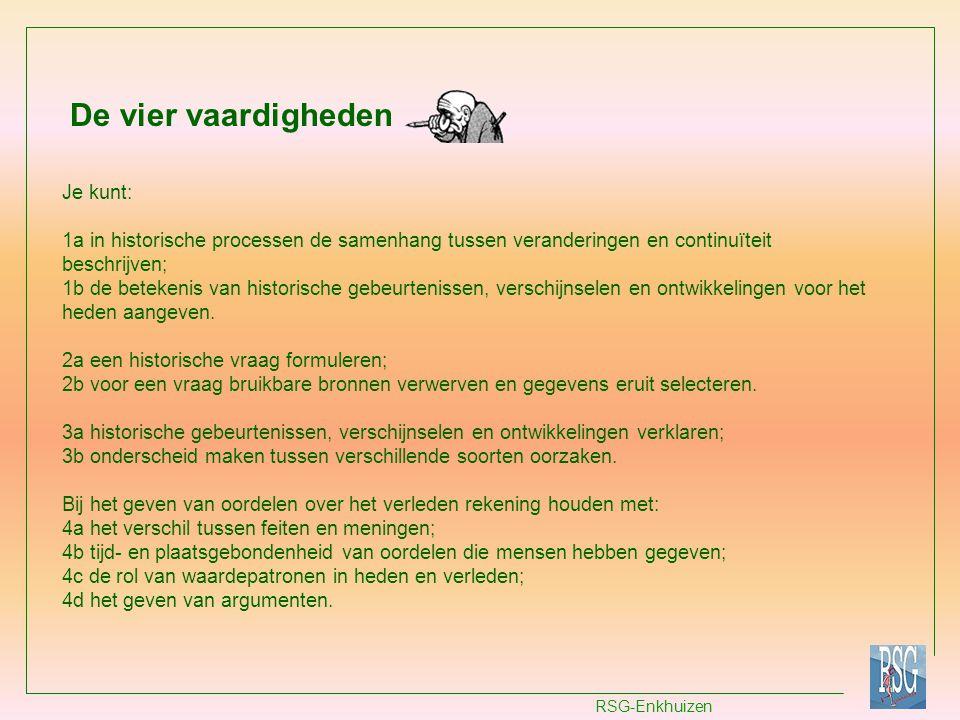 RSG-Enkhuizen Vaardigheid 1a: Verandering en continuïteit Je krijgt vier afbeeldingen te zien van de ontwikkeling van een nederzetting tussen 500 en 2010.