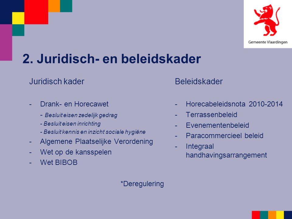 2. Juridisch- en beleidskader Juridisch kader -Drank- en Horecawet - Besluit eisen zedelijk gedrag - Besluit eisen inrichting - Besluit kennis en inzi