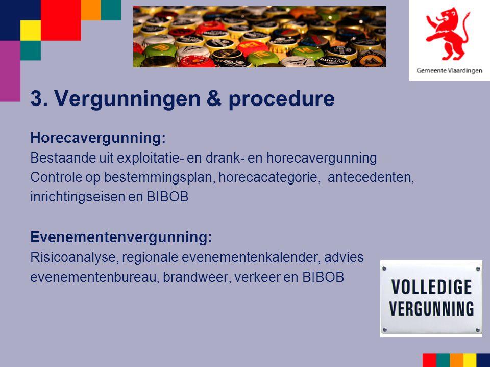 3. Vergunningen & procedure Horecavergunning: Bestaande uit exploitatie- en drank- en horecavergunning Controle op bestemmingsplan, horecacategorie, a