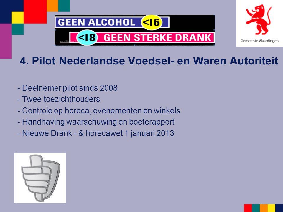 4. Pilot Nederlandse Voedsel- en Waren Autoriteit - Deelnemer pilot sinds 2008 - Twee toezichthouders - Controle op horeca, evenementen en winkels - H