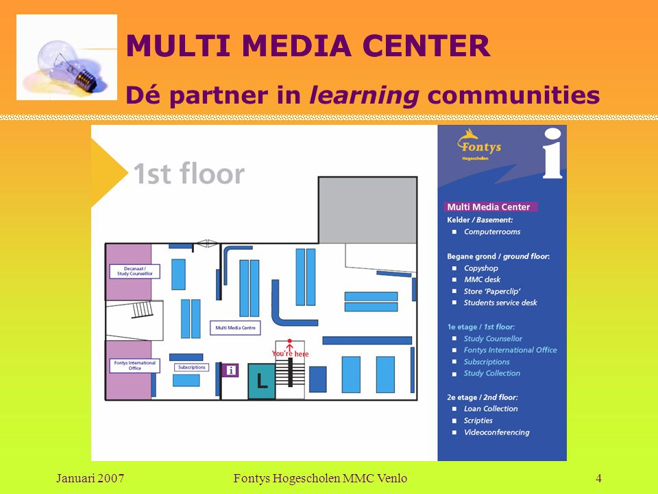 MULTI MEDIA CENTER Dé partner in learning communities Januari 2007Fontys Hogescholen MMC Venlo4