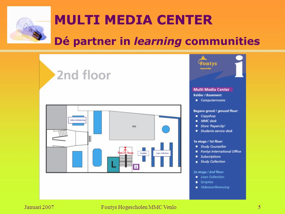 MULTI MEDIA CENTER Dé partner in learning communities Januari 2007Fontys Hogescholen MMC Venlo5
