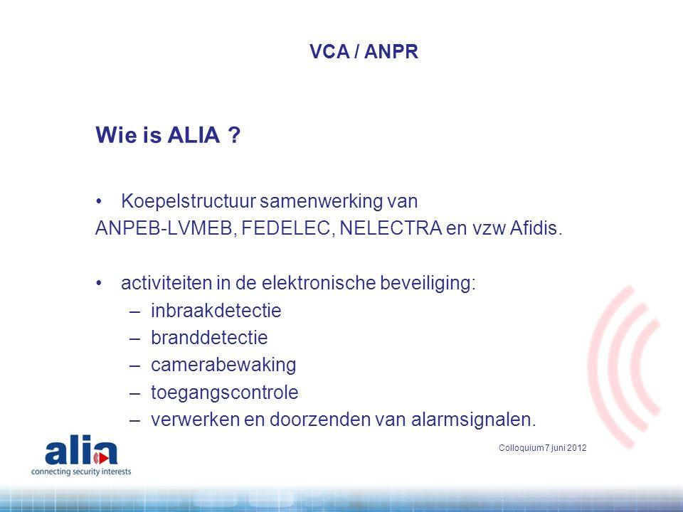 Wie is ALIA ? •Koepelstructuur samenwerking van ANPEB-LVMEB, FEDELEC, NELECTRA en vzw Afidis. •activiteiten in de elektronische beveiliging: –inbraakd