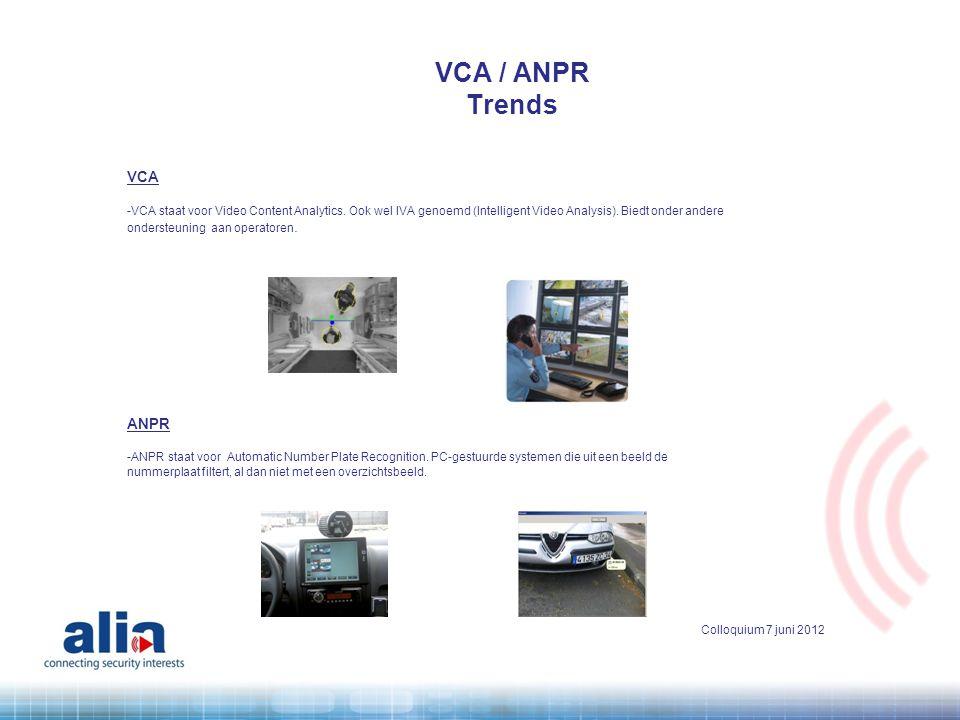 VCA -VCA staat voor Video Content Analytics. Ook wel IVA genoemd (Intelligent Video Analysis). Biedt onder andere ondersteuning aan operatoren. ANPR -