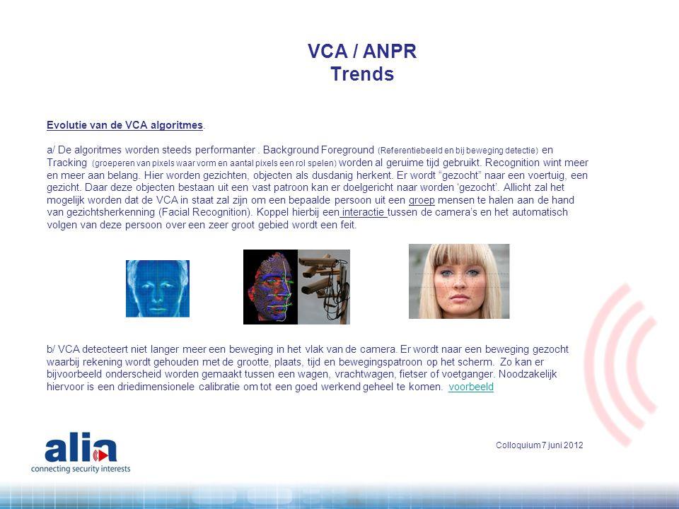 Evolutie van de VCA algoritmes. a/ De algoritmes worden steeds performanter. Background Foreground (Referentiebeeld en bij beweging detectie) en Track