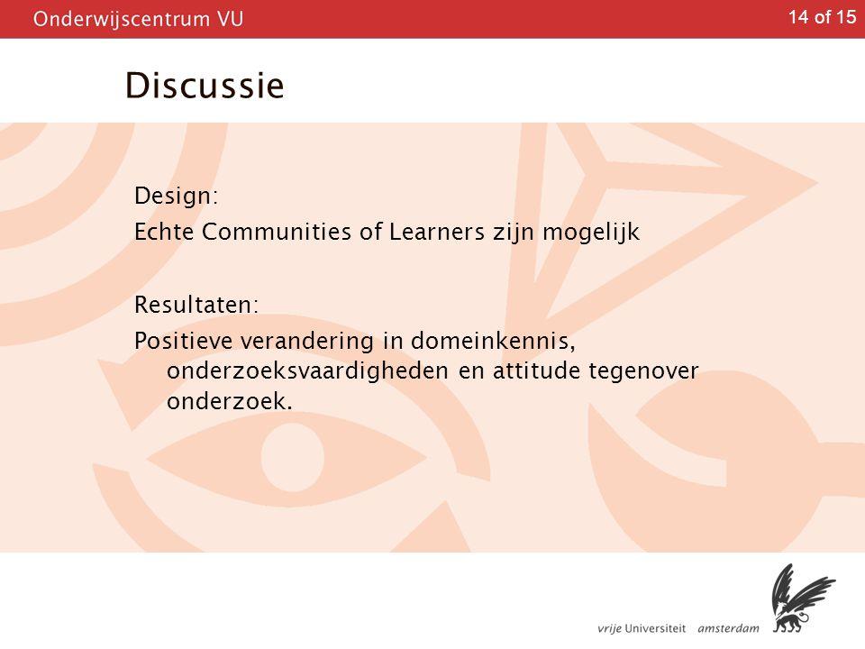14 of 15 Discussie Design: Echte Communities of Learners zijn mogelijk Resultaten: Positieve verandering in domeinkennis, onderzoeksvaardigheden en at