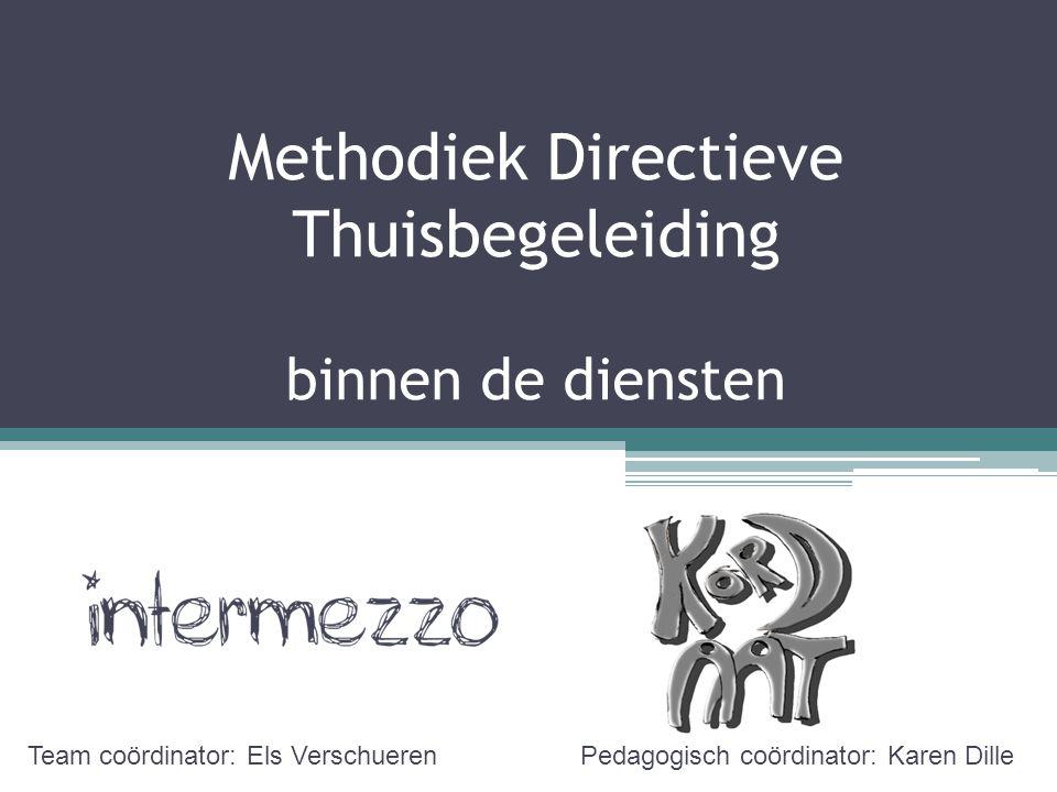 Methodiek Directieve Thuisbegeleiding binnen de diensten Team coördinator: Els VerschuerenPedagogisch coördinator: Karen Dille