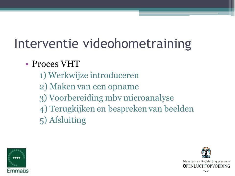 Interventie videohometraining •Proces VHT 1) Werkwijze introduceren 2) Maken van een opname 3) Voorbereiding mbv microanalyse 4) Terugkijken en bespre