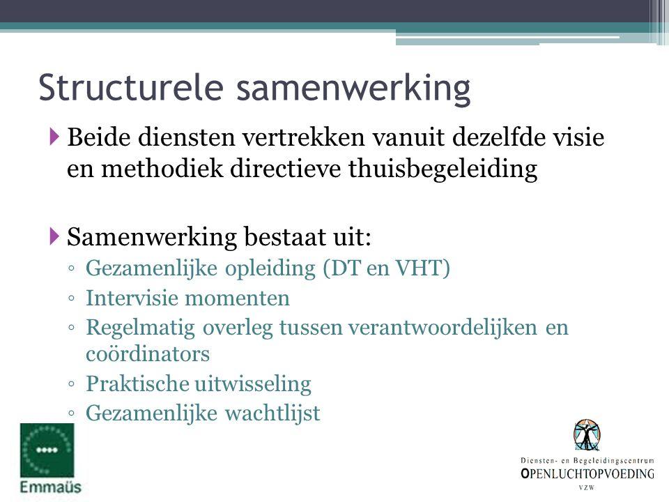 Structurele samenwerking  Beide diensten vertrekken vanuit dezelfde visie en methodiek directieve thuisbegeleiding  Samenwerking bestaat uit: ◦ Geza