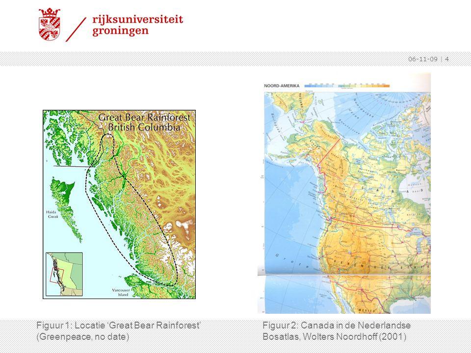 06-11-09 | 4 Figuur 1: Locatie 'Great Bear Rainforest' (Greenpeace, no date) Figuur 2: Canada in de Nederlandse Bosatlas, Wolters Noordhoff (2001)