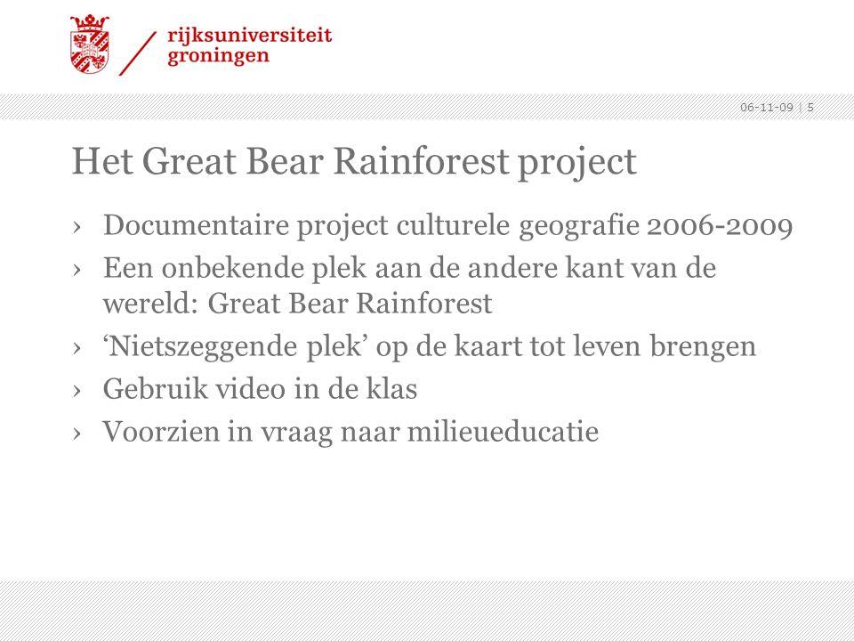 06-11-09 | 5 Het Great Bear Rainforest project ›Documentaire project culturele geografie 2006-2009 ›Een onbekende plek aan de andere kant van de wereld: Great Bear Rainforest ›'Nietszeggende plek' op de kaart tot leven brengen ›Gebruik video in de klas ›Voorzien in vraag naar milieueducatie