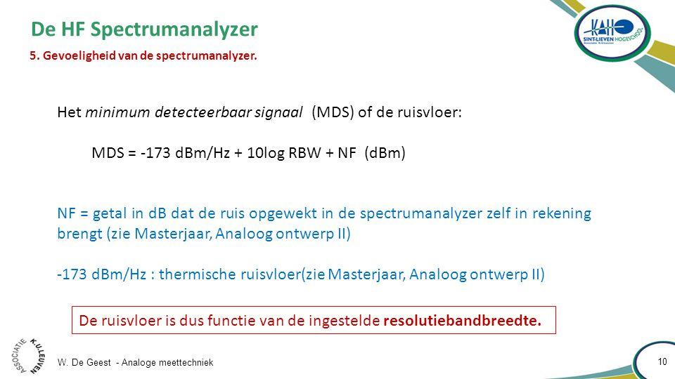 W. De Geest - Analoge meettechniek 10 De HF Spectrumanalyzer 5. Gevoeligheid van de spectrumanalyzer. Het minimum detecteerbaar signaal (MDS) of de ru