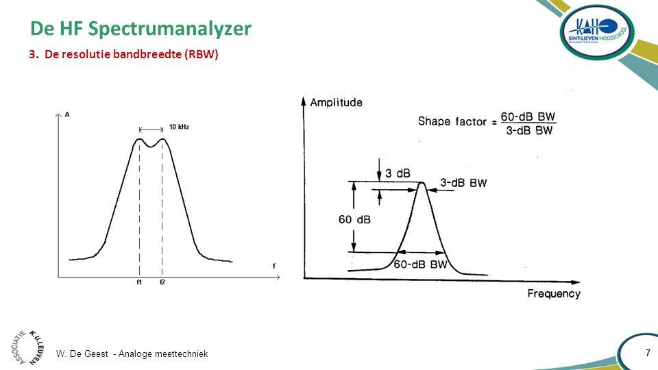 W.De Geest - Analoge meettechniek 8 8 De HF Spectrumanalyzer 3.