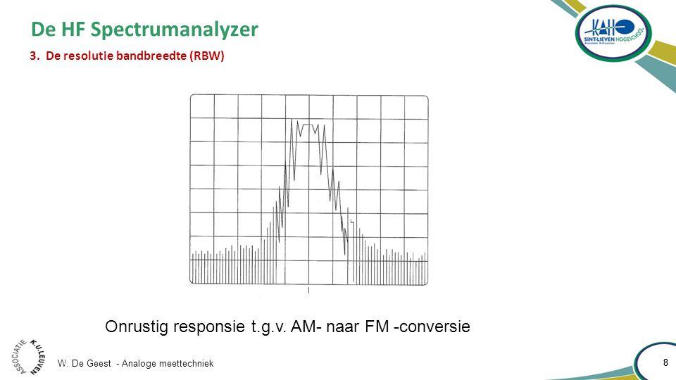 W. De Geest - Analoge meettechniek 8 8 De HF Spectrumanalyzer 3. De resolutie bandbreedte (RBW) Onrustig responsie t.g.v. AM- naar FM -conversie