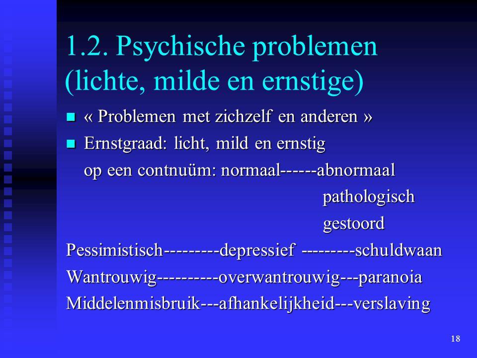 18 1.2. Psychische problemen (lichte, milde en ernstige)  « Problemen met zichzelf en anderen »  Ernstgraad: licht, mild en ernstig op een contnuüm: