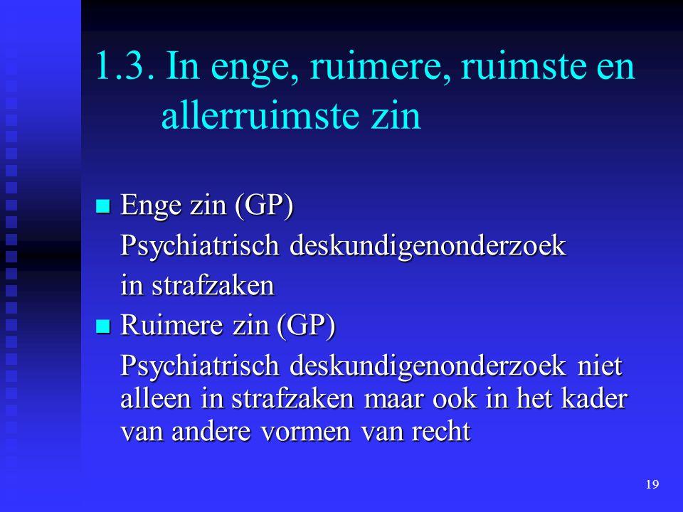 19 1.3. In enge, ruimere, ruimste en allerruimste zin  Enge zin (GP) Psychiatrisch deskundigenonderzoek in strafzaken  Ruimere zin (GP) Psychiatrisc