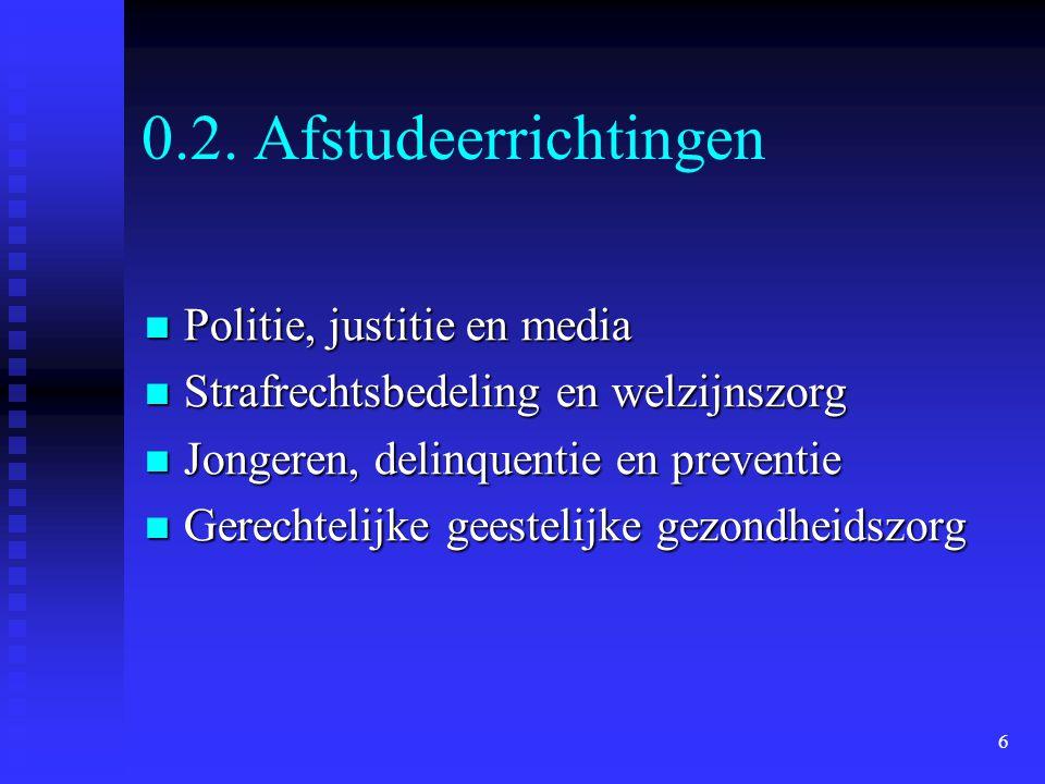 6 0.2. Afstudeerrichtingen  Politie, justitie en media  Strafrechtsbedeling en welzijnszorg  Jongeren, delinquentie en preventie  Gerechtelijke ge