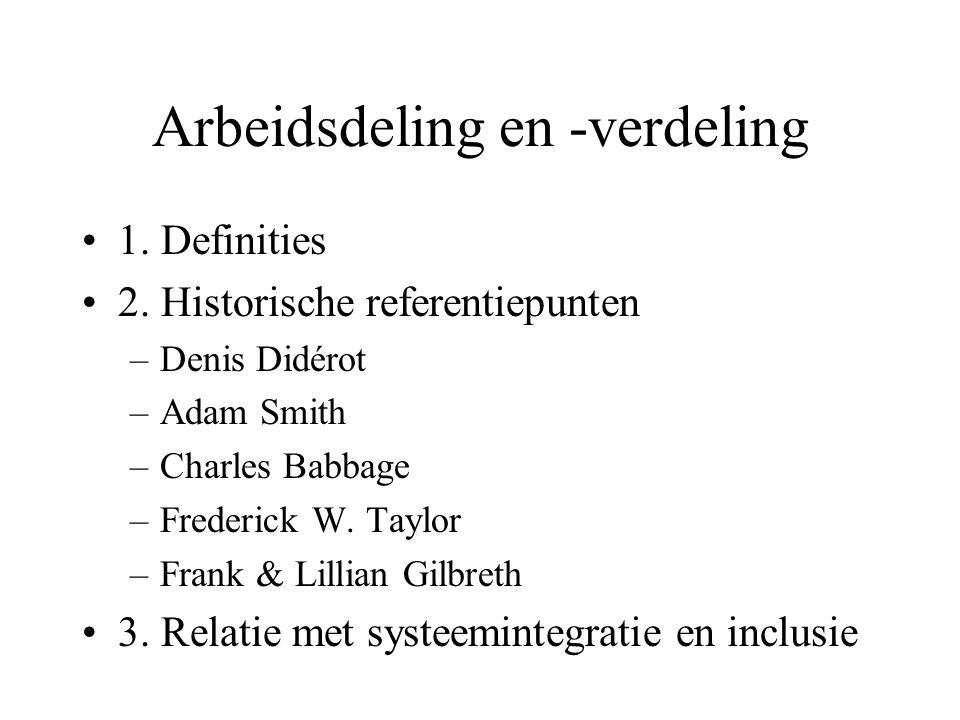 Definities (#1) •Arbeidsverdeling = het verdelen van arbeidstaken tussen personen (of organisaties, institututen).
