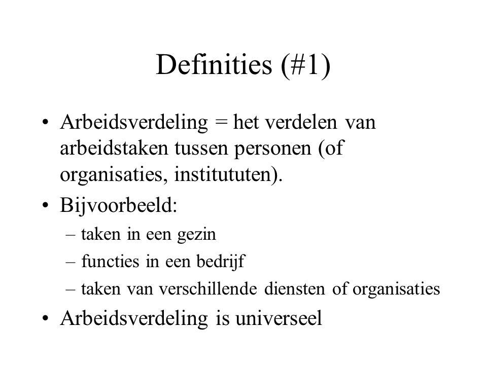 Definities (#2) •Arbeidsdeling = het onderscheiden van deelhandelingen in een arbeidsproces •Bijvoorbeeld: –assemblage van een wagen of een meubel –te volgen handleiding –script t.o.v.