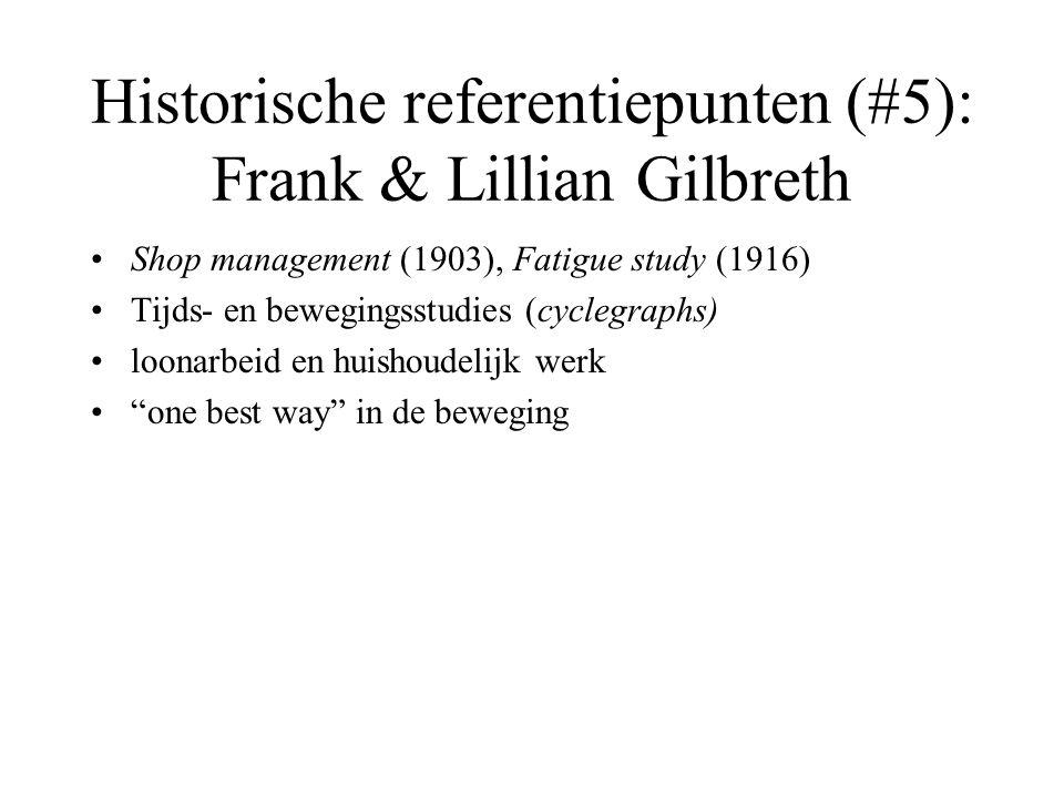 Historische referentiepunten (#5): Frank & Lillian Gilbreth •Shop management (1903), Fatigue study (1916) •Tijds- en bewegingsstudies (cyclegraphs) •l