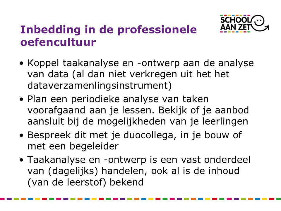 Inbedding in de professionele oefencultuur •Koppel taakanalyse en -ontwerp aan de analyse van data (al dan niet verkregen uit het het dataverzamenling