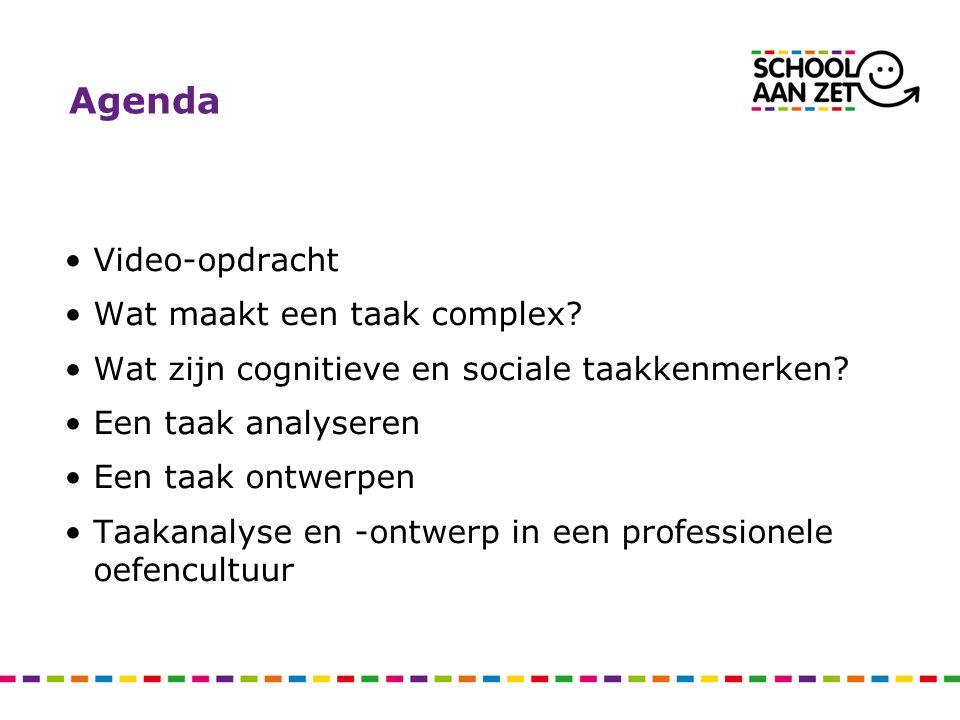 Agenda •Video-opdracht •Wat maakt een taak complex? •Wat zijn cognitieve en sociale taakkenmerken? •Een taak analyseren •Een taak ontwerpen •Taakanaly