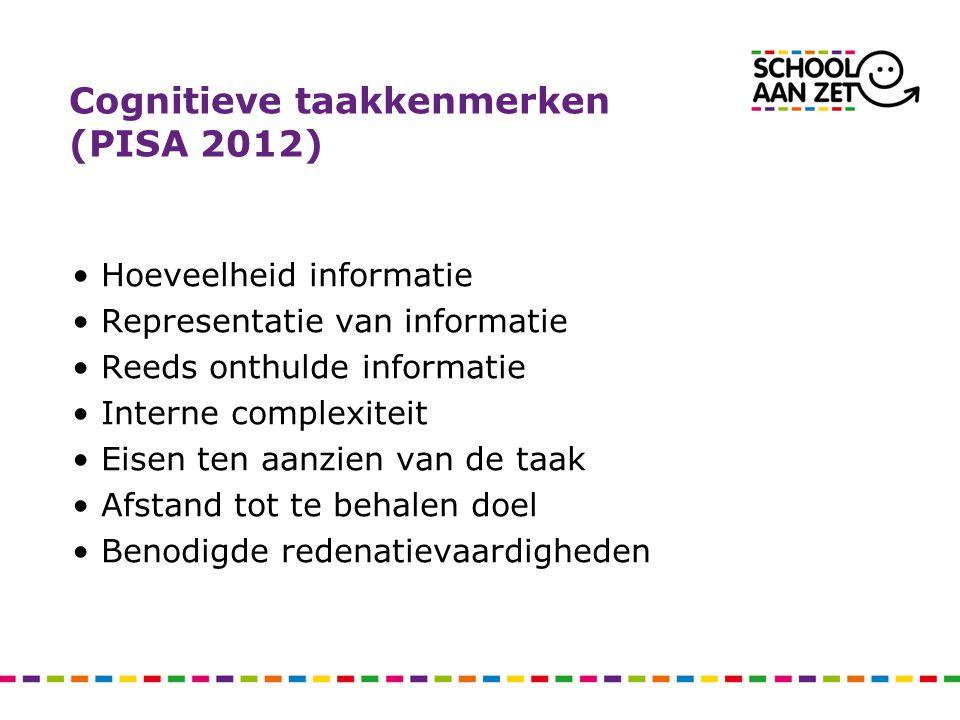 Cognitieve taakkenmerken (PISA 2012) •Hoeveelheid informatie •Representatie van informatie •Reeds onthulde informatie •Interne complexiteit •Eisen ten