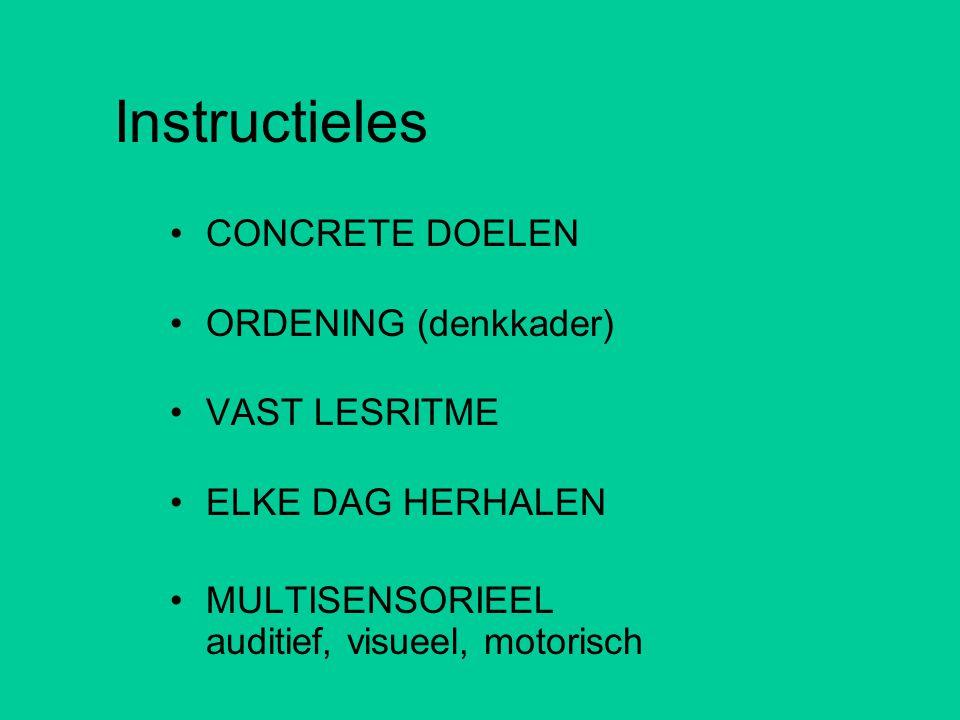 Instructieles •CONCRETE DOELEN •ORDENING (denkkader) •VAST LESRITME •ELKE DAG HERHALEN •MULTISENSORIEEL auditief, visueel, motorisch