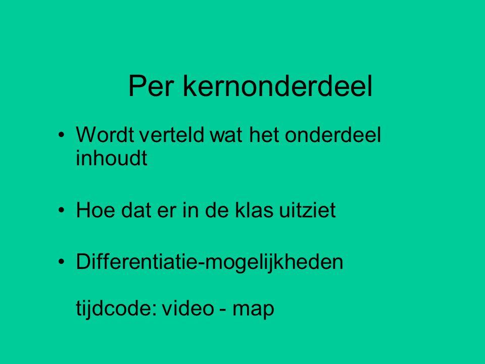 Per kernonderdeel •Wordt verteld wat het onderdeel inhoudt •Hoe dat er in de klas uitziet •Differentiatie-mogelijkheden tijdcode: video - map
