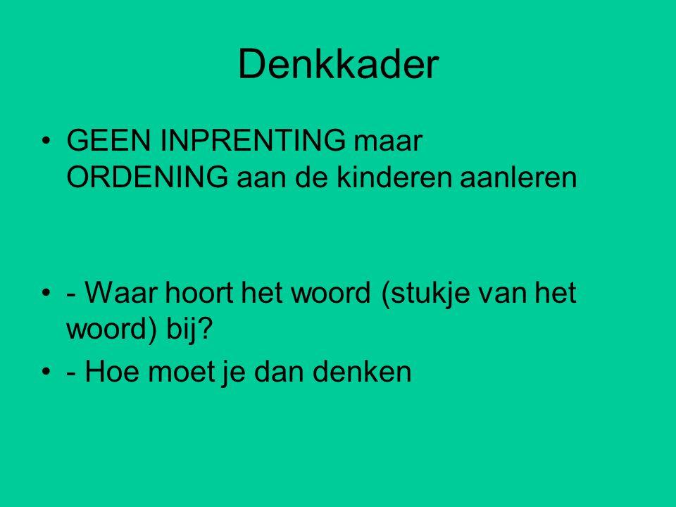 Denkkader •GEEN INPRENTING maar ORDENING aan de kinderen aanleren •- Waar hoort het woord (stukje van het woord) bij.