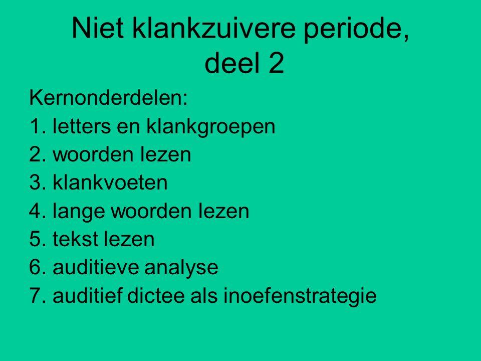 Niet klankzuivere periode, deel 2 Kernonderdelen: 1.