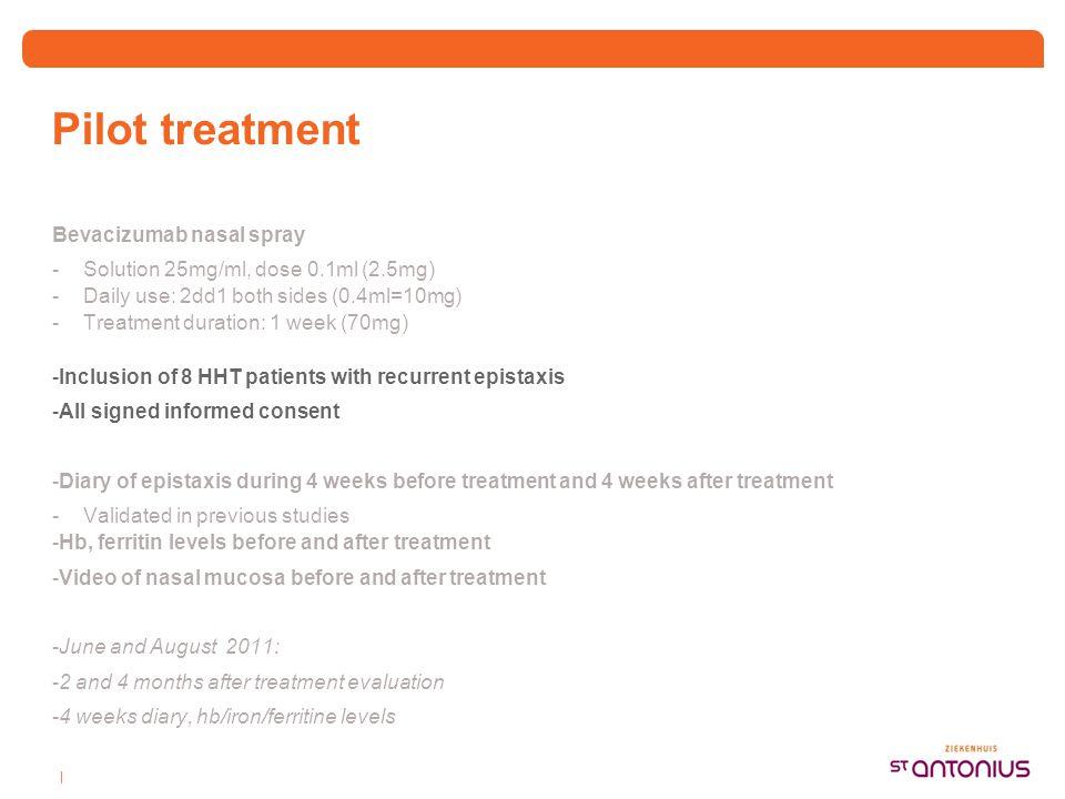 | Pilot treatment Bevacizumab nasal spray -Solution 25mg/ml, dose 0.1ml (2.5mg) -Daily use: 2dd1 both sides (0.4ml=10mg) -Treatment duration: 1 week (