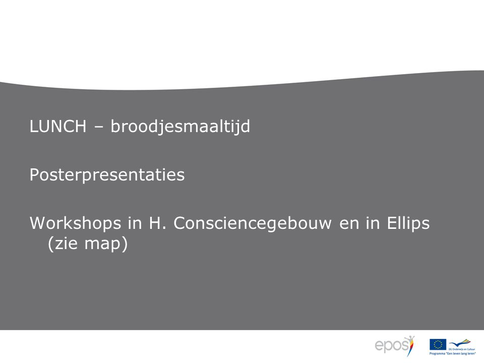 LUNCH – broodjesmaaltijd Posterpresentaties Workshops in H. Consciencegebouw en in Ellips (zie map)