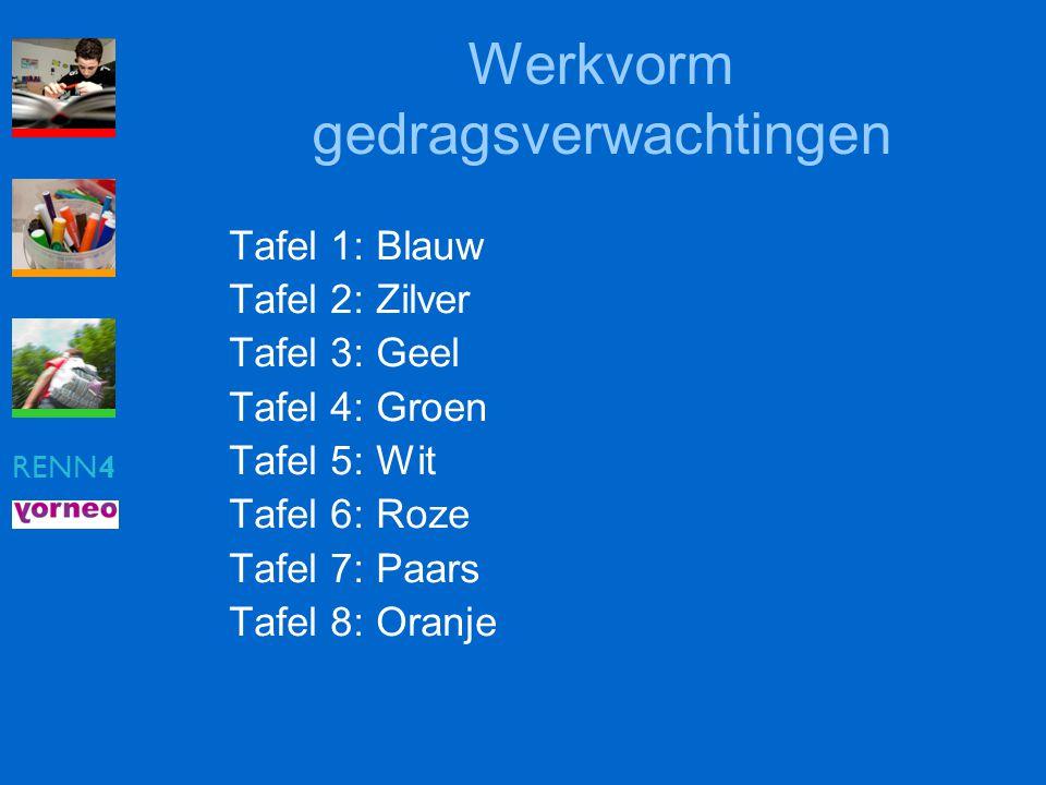 RENN4 Werkvorm gedragsverwachtingen Tafel 1: Blauw Tafel 2: Zilver Tafel 3: Geel Tafel 4: Groen Tafel 5: Wit Tafel 6: Roze Tafel 7: Paars Tafel 8: Ora