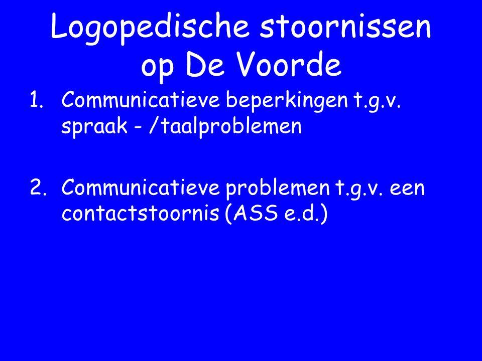 Logopedische stoornissen op De Voorde 1.Communicatieve beperkingen t.g.v.